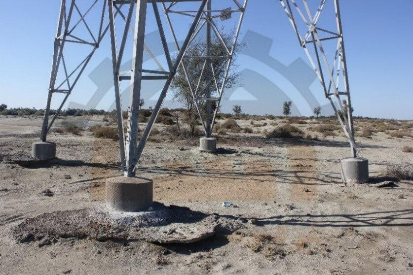 آب شستگی پایه های برج انتقال نیرو در اثر عدم اجرای صحیح فونداسیون